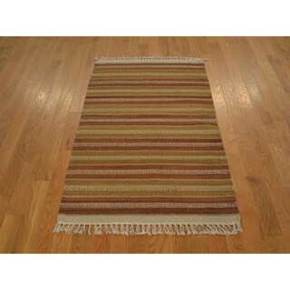 Hand-woven Earth Colors Flat Weave Durie Kilim Rug (3' x 5')