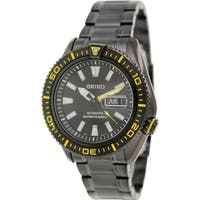 Seiko Men's SRP499K Black Stainless Steel Automatic Watch with Black Dial