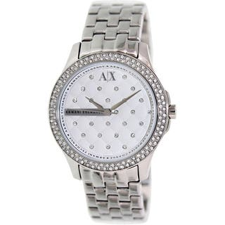 Armani Exchange Women's AX5215 Silver Stainless-Steel Quartz Watch with Silver Dial|https://ak1.ostkcdn.com/images/products/9528638/P16708279.jpg?impolicy=medium