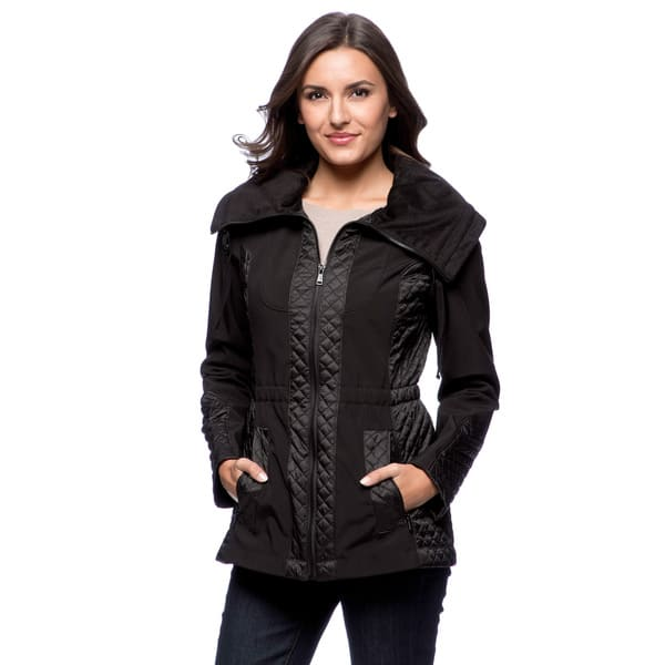 Jones New York Womens Quilted Jacket with Hood Clothing Quilted Lightweight  Jackets