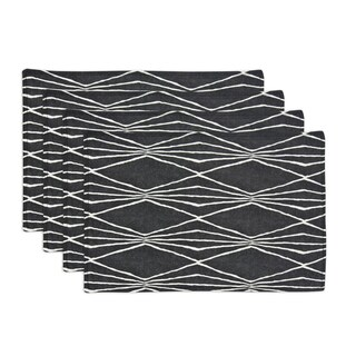Handcut Shapes Charcoal Lined 12.5-inch x 19-inch Placemats (Set of 4)