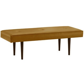 Skyline Furniture Button Tufted Bench with Cone Legs in Lexi Bronze