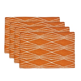 Handcut Shapes Crushed Orange Lined 12.5-inch x 19-inch Placemats (Set of 4)