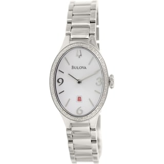Bulova Women's Diamond Gallery 96R192 Stainless Steel Quartz Watch with White Dial