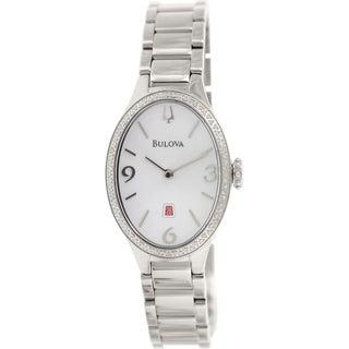 Bulova Women's Diamond Gallery 96R192 Stainless Steel Quartz Watch with White Dial