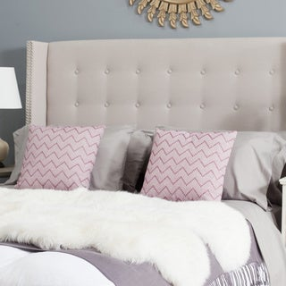 Safavieh Keegan Taupe Linen Upholstered Tufted Wingback Headboard (Queen)