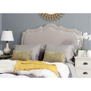Safavieh Skyler Taupe Linen Upholstered Headboard - Silver Nailhead (Queen)