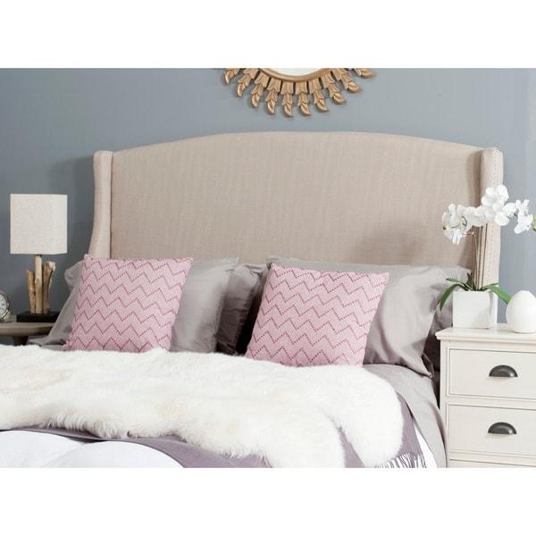 safavieh austin beige cotton blend upholstered wingback head
