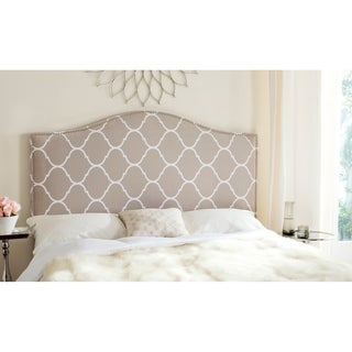 Safavieh Connie Pearl Grey Moroccan Pattern Camelback Headboard - Silver Nailhead (Queen)