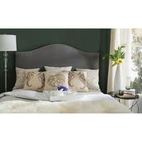 Safavieh Connie Grey Upholstered Camelback Silver Nailhead Queen Headboard