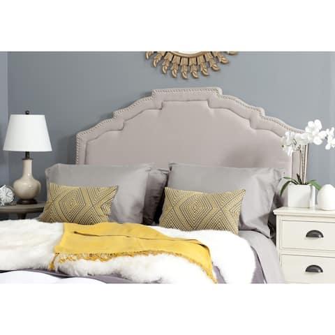 SAFAVIEH Alexia Taupe Upholstered Headboard - Silver Nailhead (Queen)