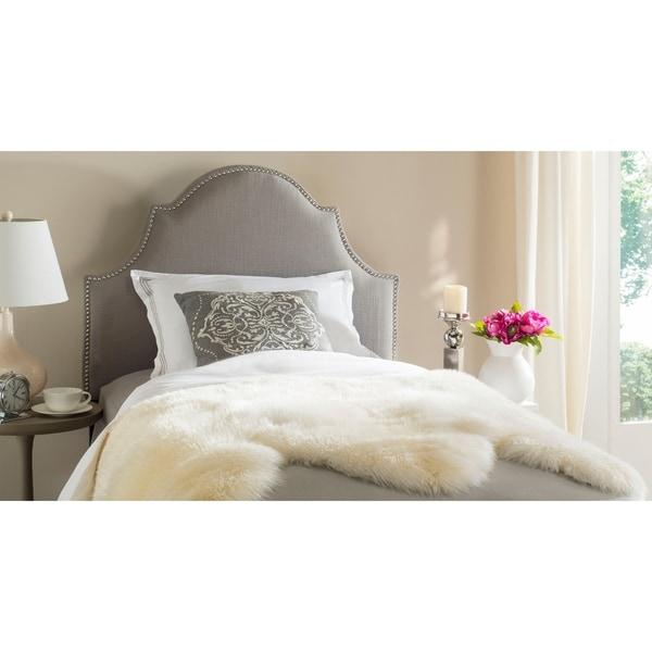 Safavieh Hallmar Arctic Grey Upholstered Arched Headboard - Silver Nailhead (Twin)