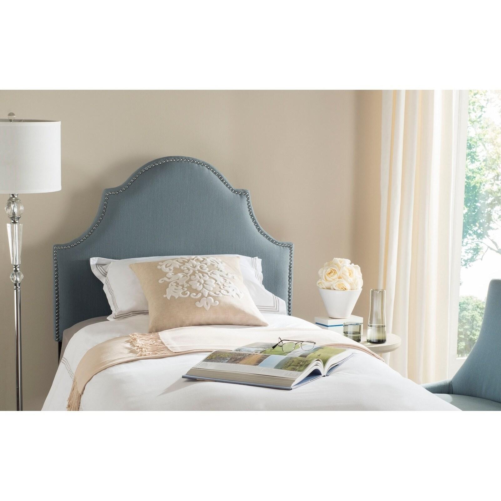 Safavieh Hallmar Sky Blue Upholstered Arched Headboard - Silver Nailhead (Twin) (MCR4026D)