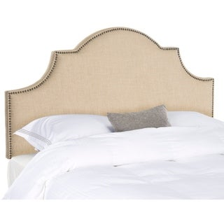 Safavieh Hallmar Hemp Linen Upholstered Arched Headboard - Brass Nailhead (King)