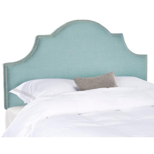 Safavieh Hallmar Sky Blue Upholstered Arched Headboard - Silver Nailhead (King)