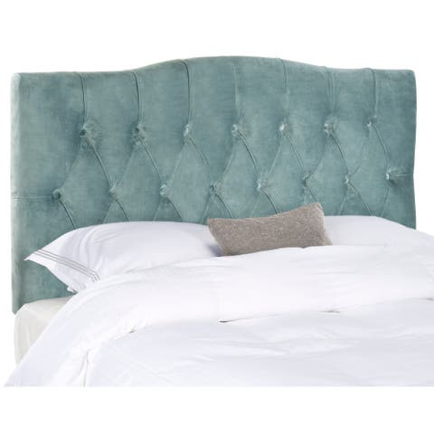 Safavieh Axel Wedgwood Blue Cotton Upholstered Tufted Headboard (King)