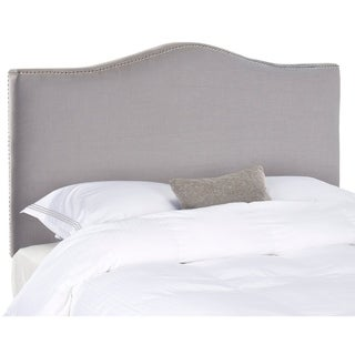 Link to Safavieh Jeneve Arctic Grey Upholstered Headboard - Silver Nailhead (King) Similar Items in Bedroom Furniture