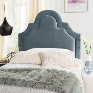 Safavieh Kerstin Wedgwood Blue Cotton Upholstered Arched Headboard (Twin)