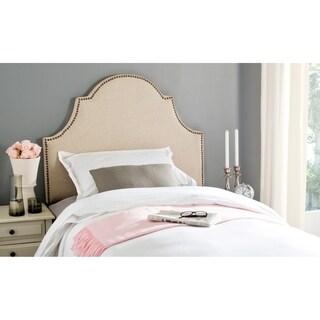 Safavieh Hallmar Hemp Linen Upholstered Arched Headboard - Brass Nailhead (Twin)