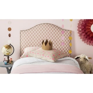 Safavieh Connie Peach Pink/ White Camelback Upholstered Headboard - Silver Nailhead (Twin)