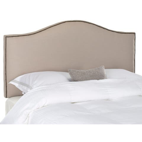 Safavieh Connie Taupe Camelback Upholstered Headboard - Silver Nailhead (King)
