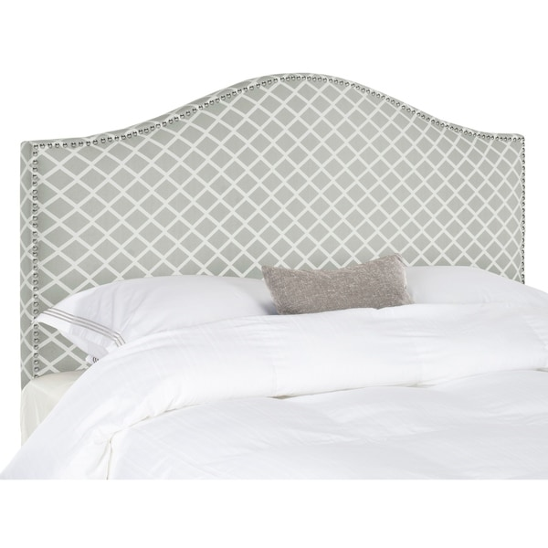 Safavieh Connie Grey/ White Camelback Upholstered Headboard - Silver Nailhead (King). Opens flyout.