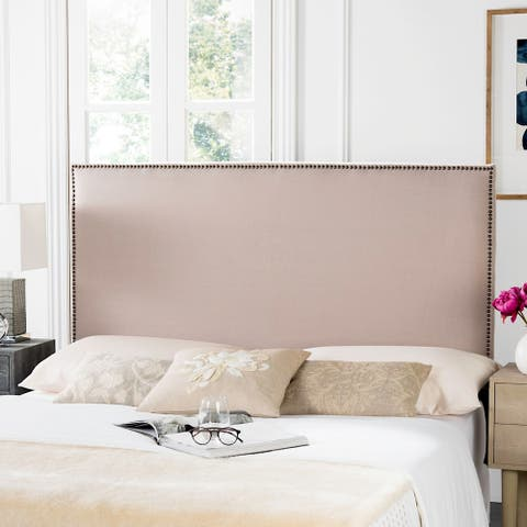 Safavieh Sydney Taupe Linen Upholstered Headboard -Brass Nailhead (King)