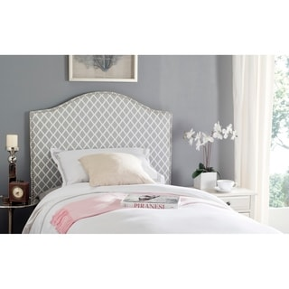 Safavieh Connie Grey/ White Camelback Upholstered Headboard - Silver Nailhead (Twin)