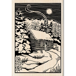 "Inkadinkado Christmas Mounted Rubber Stamp 2.75""X4""-Winter Evening Woodcut"