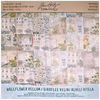 "Tim Holtz Idea-Ology Vellum Paper Stash 12""X12"" 18/Pkg-Wallflower"
