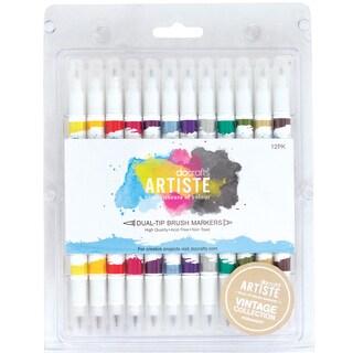 Artiste Dual Tip Brush Markers 12/Pkg-Vintage