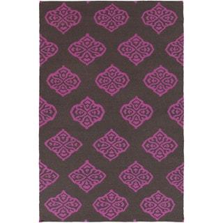 Flatweave Raphael Wool Area Rug (8 x 11 - Magenta)