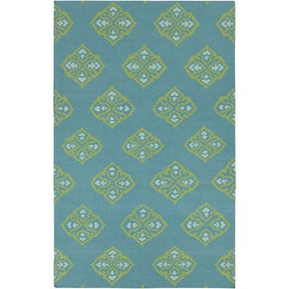 Flatweave Raphael Wool Area Rug (8 x 11 - Blue/Yellow)