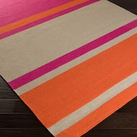 Flatweave Bron Striped Wool Area Rug