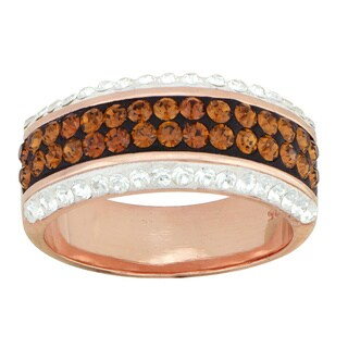 14k Rose Goldplated Over Silver Brown Crystal Ring (Size 7)