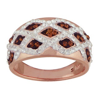 14k Rose Goldplated Silver Chocolate Crystal Basket Weave Ring (Size 7)