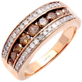 10k Rose Gold 1ct TDW Champagne and White Diamond Ring (H-SI)