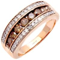 10k Rose Gold 1ct TDW Champagne and White Diamond Ring