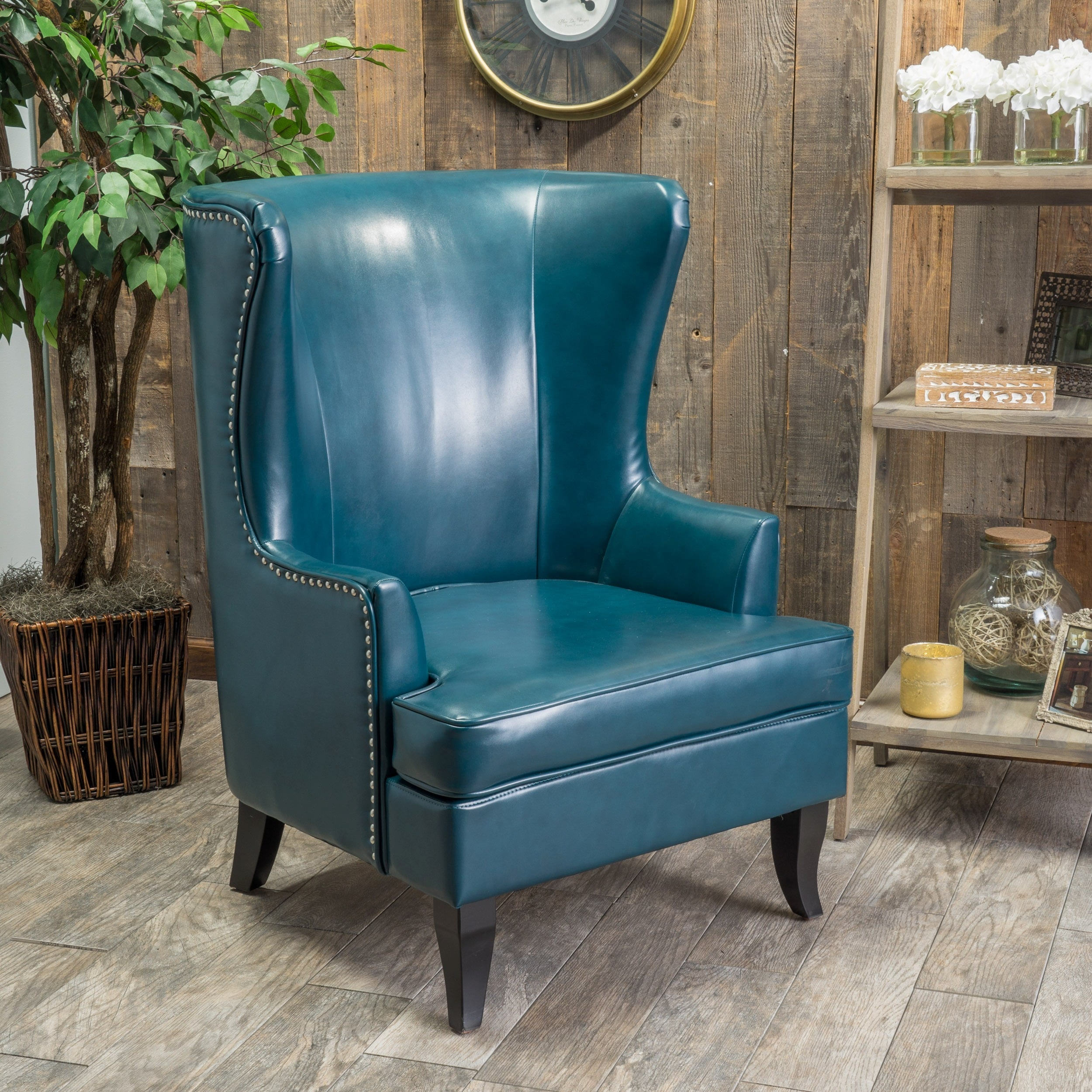 Canterburry High Back Bonded Leather Wing Chair By