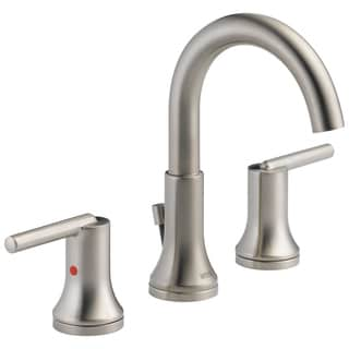 Delta Trinsic Widespread Bath Faucet with Metal Pop-Up in Brilliance Stainless