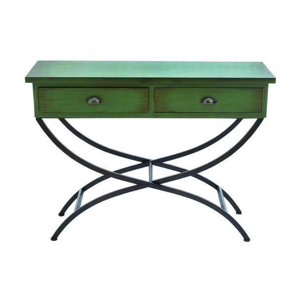 Woodland Imports Console Table Metal Wood Table Curved Metal Legs - Free Shipping Today - Overstock ...