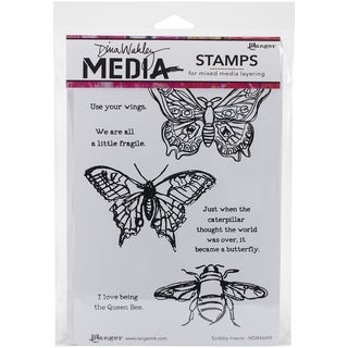 """Dina Wakley Media Cling Stamps 6""""X9""""-Scribbly Insects"""