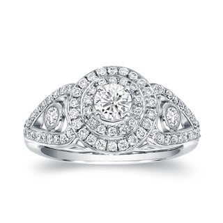Auriya 14k White Gold 1 1/10ct TDW Round Diamond Ring