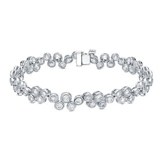 Auriya 14k White Gold 5ct TDW Bezel Set Bubble Diamond Bracelet (H-I, SI1-SI2)