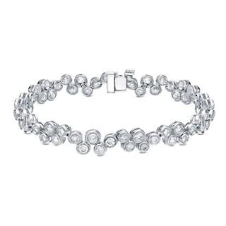 Auriya 14k White Gold 5ct TDW Bezel Set Bubble Diamond Bracelet