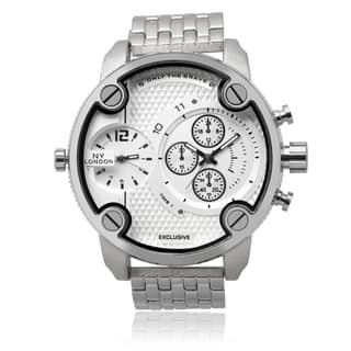 NY London Men's Silvertone Round Dual Time Zone Dial Link Bracelet Watch|https://ak1.ostkcdn.com/images/products/9530980/P16710545.jpg?impolicy=medium