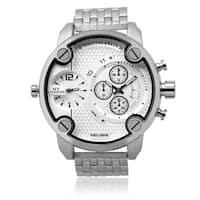 NY London Men's Silvertone Round Dual Time Zone Dial Link Bracelet Watch