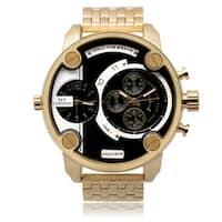 NY London Men's Goldtone Dual Time Zone Dial Link Bracelet Watch