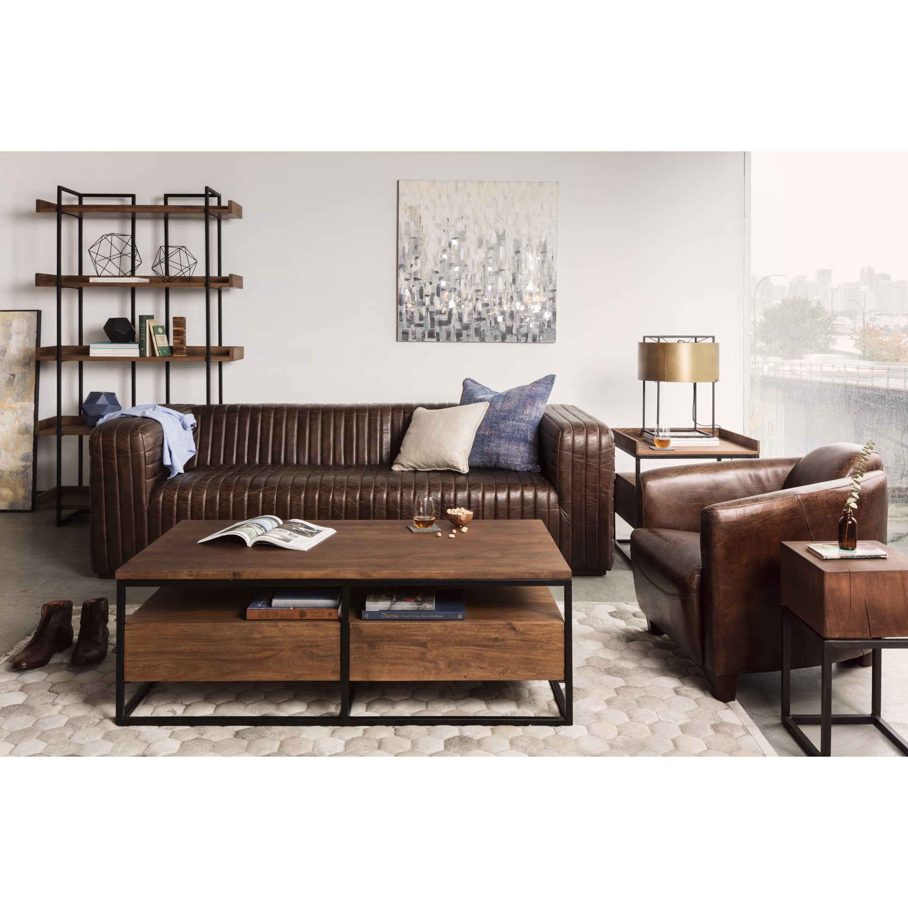 Aurelle Home Brown Leather Lounge Accent Chair