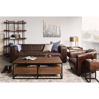 Aurelle Home Brown Leather Lounge Chair